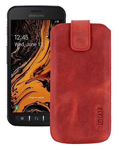 Suncase Etui Tasche kompatibel mit Samsung Galaxy Xcover 4s mit ZUSÄTZLICHER Hülle/Schale/Bumper/Silikon *Lasche mit Rückzugfunktion* Handytasche Ledertasche Schutzhülle Hülle in antik-rot