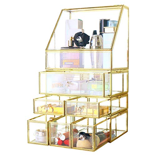 Stunning Gold Large Glass Makeup Organizer Jewelry &Cosmetic Storage Set Mirror Display Holder for Vanity/Dresser/Bathroom/Beauty Room/Dresser/Brushes/Skincare Stackable Drawers Showcases