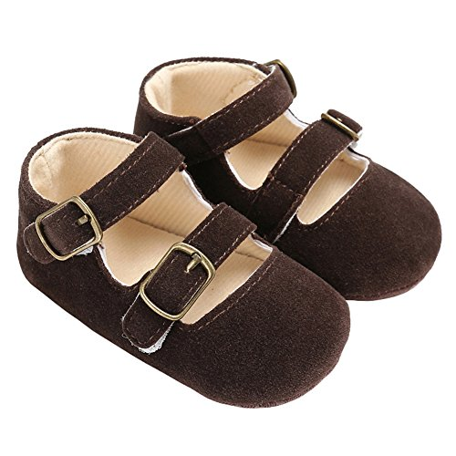 Mejale Baby Soft Soled Leather Moccasins Anti-Slip Infant Toddler Shoes First Walkers(Brown,18-24 Mos)