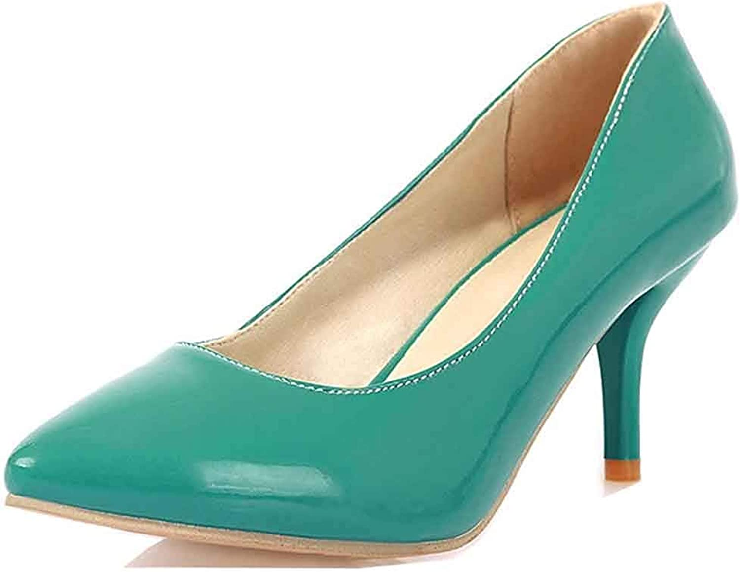 Unm Women's Sexy Burnished Dressy Slip On Low Cut Pointed Toe Stiletto High Heel Pumps shoes