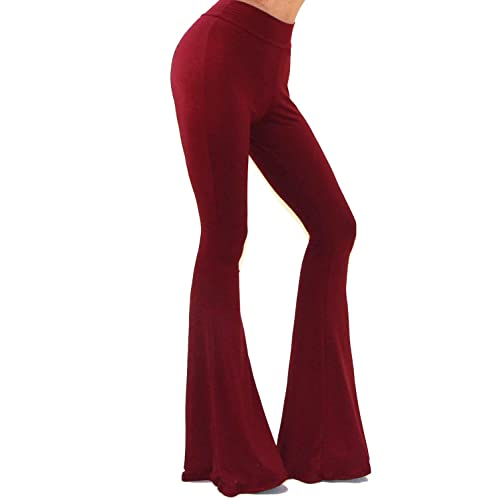 398288d041dab Vivicastle Women's USA Boho Solid Hippie Wide Leg Flared Bell Bottom Pants
