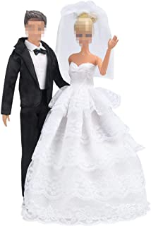 E-TING Wedding Pack, Beautiful Gown Bride Dress Clothes with Veil and Groom Formal Outfit Business Suit for Barbie Ken Dol...