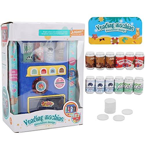 Máquinas de bebidas electrónicas, Juego de actividades de desarrollo temprano Juguete para niños pequeños Juegos de simulación Juegos de máquinas de bebidas Máquina expendedora interactiva(Azul)
