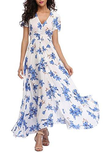 VintageClothing Women's Floral Print Maxi Dresses Boho Button Up Split Beach Party Dress, White&Blue, L