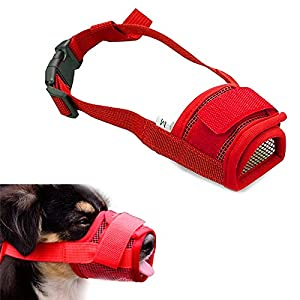 Muselières anti-aboiement réglables pour gueule de chien, muselière en maille confortable, couleur noir ou rouge