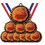 Antique Bronze Flame Series Basketball Award Medals Champion Winner with Red White and Blue Neck Ribbons (Pack of 10)