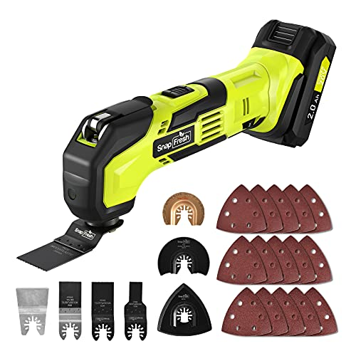 Cordless Oscillating Tool, 20V Battery-Powered Oscillating Multi Tool with 6 Variable Speed Control and 22pcs Accessories for Trimming,Sanding,Cutting,and Removing,Battery and Charger included