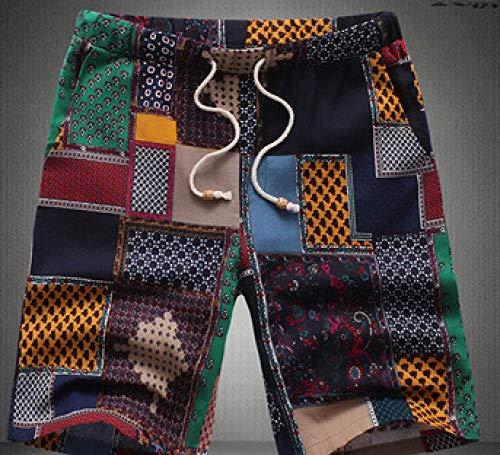 B/H Shorts de Corte Slim Hombre Bañador de Natación,Pantalones Cortos de Lino para Hombres, Pantalones de Playa de Cintura elástica Talla grande-TZ01-DK_XXL,bañador para Hombre Nautica