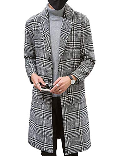 Tanming Mens Casual Slim Fit Notched Lapel Collar Plaid Mid Long Jackets Trench Coats(Grey-M)