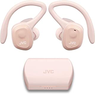 JVC HAET45TP - Auriculares deportivos verdaderamente inalámbricos, soporte de oído dual con gancho desmontable, 14 horas de duración total de la batería con funda de carga, impermeable IP55 (rosa)