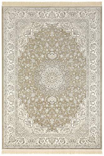 Nouristan Orientalischer Samt-Teppich mit Fransen Antik Nain NAVEH (160 x 230 cm, 60% Viskose, 40% Baumwolle, Fußbodenheizung geeignet), Olivgrün Grau