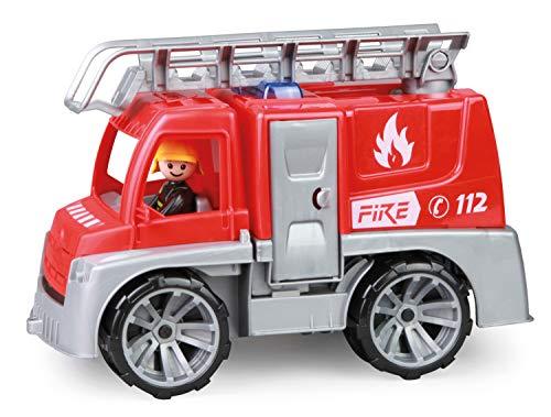 Lena 04457 TRUXX Feuerwehr Einsatzfahrzeug mit Spielfigur als Feuerwehrmann, Feuerwehrauto mit Rettungsleiter, Feuerwehrtransporter mit Türen zum Öffnen, Spielfahrzeug für Kinder ab 24m+, rot, Silber