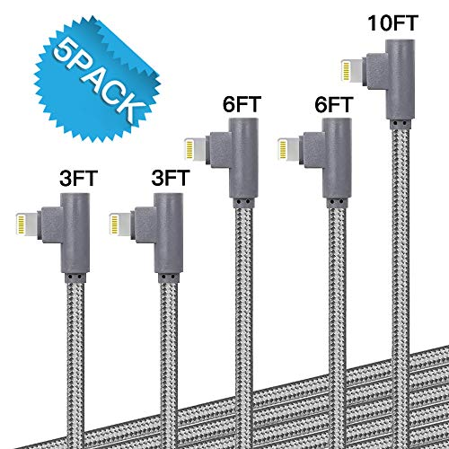 [5 Pack: 3ft/3ft/6ft/6ft/10ft] 90 Degree Gaming Cable Apple MFi Certified High-Speed Charging Cord Durable for iPhone Xs Max/Xs/XS Max/XR/X / 8/8 Plus / 7/7 Plus, and More (Gray)
