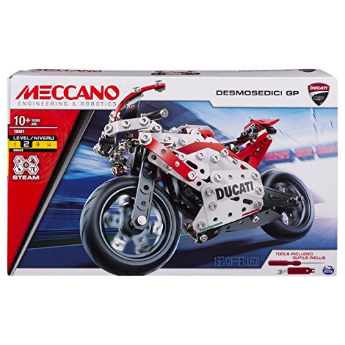 MECCANO by Erector Ducati Desmosedici GP STEM Building Kit with Coil-Spring Suspension, for Ages 10 And Up, Colore Rosso/Grigio, 6044539