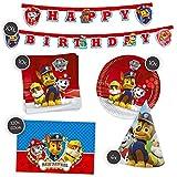 Juego de decoración para cumpleaños infantiles de La Patrulla Canina, 36 piezas, platos, servilletas, guirnaldas, decoración de mesa, sombrero de fiesta
