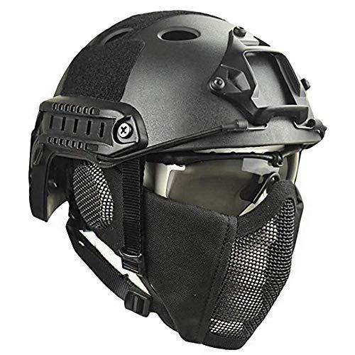 JYKOO Draussen Taktische Helme Schutzbrille Mit Stahlgittermaskenhelm Airsoft Paintball Schutzhelme CS Game Set Schutzausrüstung,BK