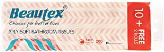 Beautex 3 PLY Mix Pulp Bathroom Tissues, 200ct, (Pack of 10+2)
