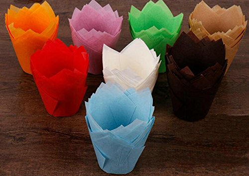 Sopeace Tulip Baking Cups | Cupcake or Muffin Liners, 100 Count (Mix Color)