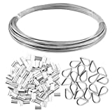 Yookat Wire Rope Cable Includes 1/16inch x 66Feet Stainless Steel Wire Rope Cable 100Pcs Aluminum Crimping Sleeves and 20Pcs Stainless Steel Thimble Cable Railing Kits