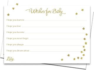 Twinkle Little Star Baby Shower Wish Cards White Glitter Gold Wishes for Baby Gender Neutral Boy or Girl Activity Sparkles...