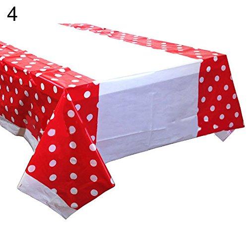 Rycnet - Mantel rectangular desechable con diseño de lunares, para decoración de mesa de banquetes de boda, regalo de año nuevo rosso