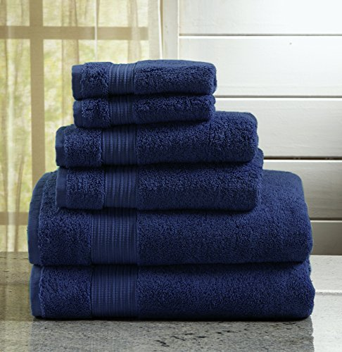 Great Bay Home 6-Piece Bath Towel Set. Includes Bath Towels, Hand Towels and Washcloths. Grace Collection (Estate Blue)