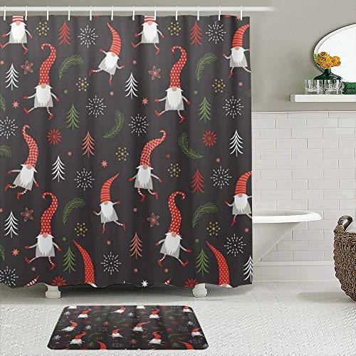 vhg8dweh Juegos de Cortinas de baño con alfombras Antideslizantes, Navidad Gnomos Sombreros Rojos Árbol Copo De Nieve,con 12 Ganchos