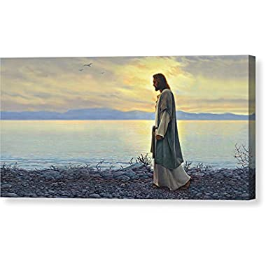 Walk With Me  by Greg Olsen, Canvas Print Wall Art, 16  x 8 , Mirrored Gallery Wrap, Glossy Finish