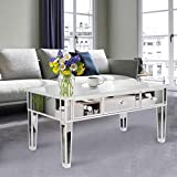 Henf Mirrored Coffee Table with 3 Drawers,Modern Silver Wooden Mirrored Sofa Table Tea Table for Living Room,Bedroom,Office