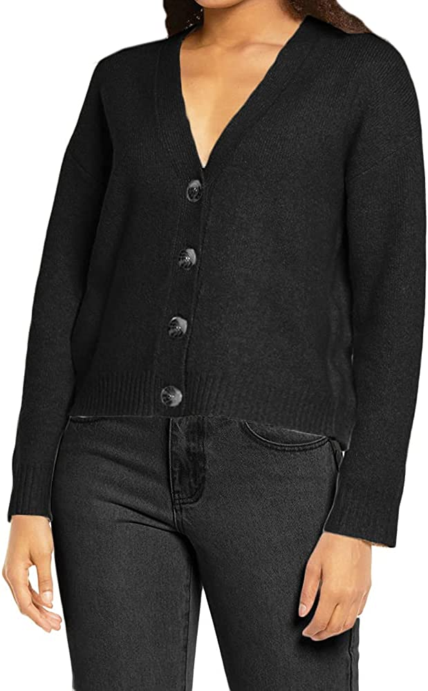 Ricristy Womens V Neck Button Down Sweaters Long Sleeve Lightweight Cardigans Sweater Pullover Tops