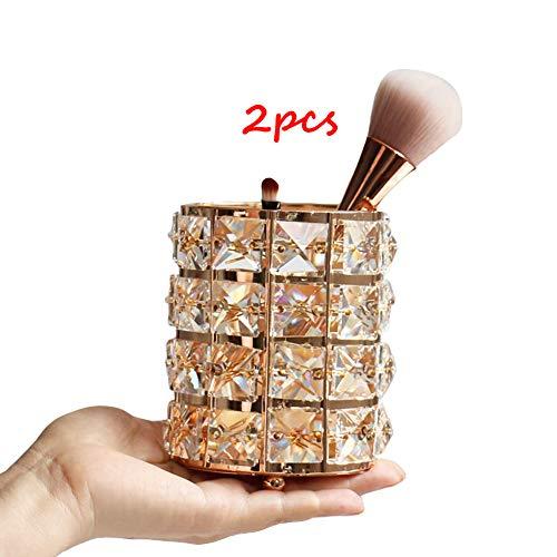 FORTSPANG Gold Make-up-Pinselhalter, Eimer, für Hochzeit, Schreibtischstifte, Bleistifthalter für Schreibtischdekoration, Kosmetik-Werkzeuge (2 Stück)