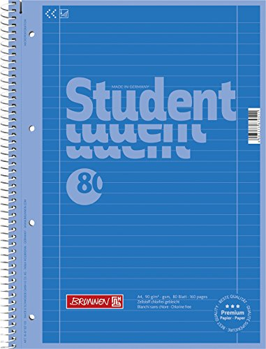 Brunnen 1067927133 Notizblock / Collegeblock Student Colour Code (A4 liniert, Lineatur 27, 90 g/m², 80 Blatt) blau