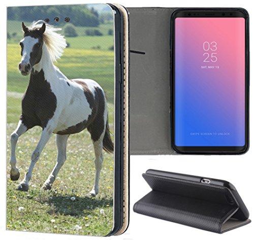 KUMO Hülle für Nokia 8.1 Handyhülle Design 1283 Pferd auf Wiese Braun Weiß aus Kunstleder Schutzhülle Smart Cover Klapphülle Handy Hülle Hülle für Nokia 8.1