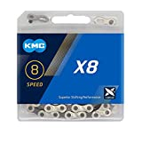 KMC X8-93 Cadena Estrecha, Unisex, Gris, 114 eslabones