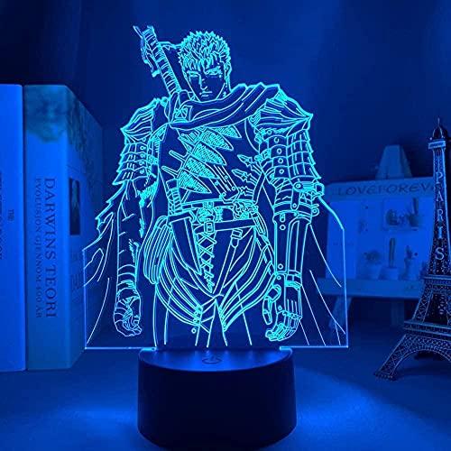 Lámpara de ilusión 3D Anime LÁMPARA LED Luz de Noche Anime Berserker Guts Diagrama Sala Decoración de Mesa Niños Fiesta Regalo de Cumpleaños