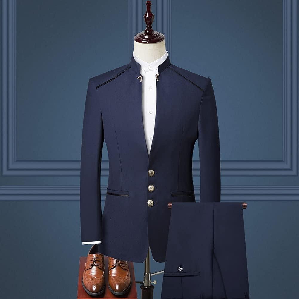 UXZDX CUJUX (Jacket+Vest +Pant) Men Suit Chinese Style Stand Collar Suit Male Wedding Groom Slim Size Blazer Set (Color : Blue, Size : 4XL 81-85kg)
