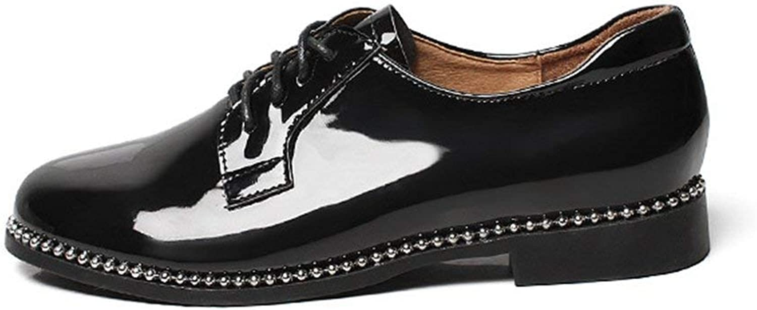Wallhewb Women's Retro Oxfords shoes - Modern Low Heel Lace-up Glossy Round Toe Casual shoes Leg Length Girl Rubber Sole Girl Leg Length Sexy Reasing Fashion Elegant Black 7.5 M US shoes