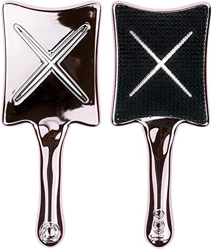 ikoo Paddle X Pops Haarbürste für jede Mähne, in Rosa Metallic I Stylingbürste mit Hitzeschutz zum Föhnen & Glätten I Detangler Bürste zum Entwirren, auch für Locken I perfekte Reise-Größe