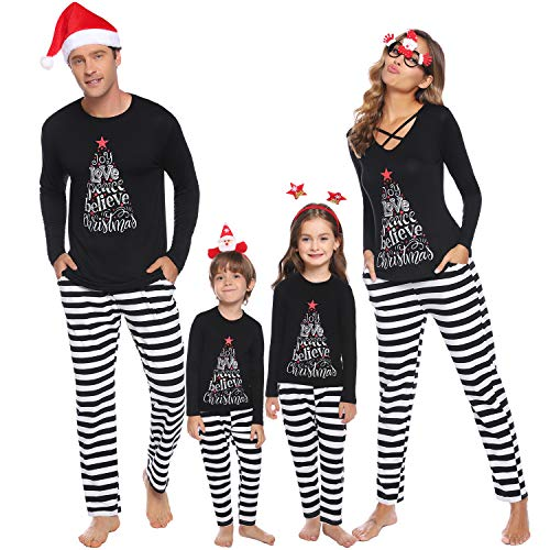 Sykooria Damen Weihnachten Schlafanzug Langarm Xmas Streifen Schlafanzug Mama Pyjama Set