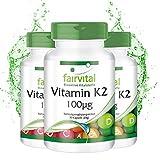 Vitamina K2 100µg - Menaquinona MK-7 Natural - a base de natto fermentado - Menaquinona MK-7 - VEGANA - Dosis alta - 270 Cápsulas (90 x 3) - Calidad Alemana