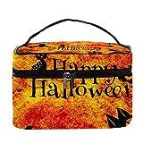 Bolsas de maquillaje para mujeres y nis Estuche organizador de cosmicos de mano bolsa portil de viaje Neceser Happy Halloween Gato negro Calabazas, Multicolor 1 Neceser