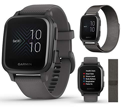 Garmin Venu Sq (Shadow Gray/Slate) Extra Style Band Bundle | with Extra Milanese Metal Watch Band (Dark Gray) by PlayBetter | Bright Screen & Wrist-Based HR | Fitness GPS Smartwatch