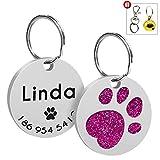 Glitter PAW PET ID Etiqueta de perro personalizada Anti-Perdida Etiqueta de identificación de acero inoxidable para cachorro Gato Personalizado con nombre más grande Accesorios Collar-Rose Red-
