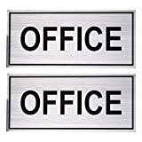 Juvale Office Signs (2-Pack) - Wall Plates, Self-Adhesive Aluminum Signage For Or Door, Silver 20 x 9.1 cm