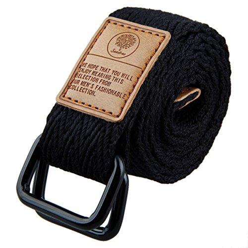 Shanxing Cintura in tessuto per uomo e donna con doppio anello a D, in tela 2 nero (110 cm di lunghezza totale). Taglia unica