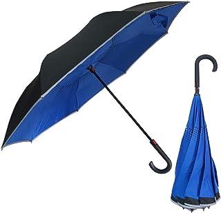 rainbow charm 傘 ワンタッチ 自動閉じ 逆さ傘 60cm 撥水 耐風 グラスファイバー 8本骨 2色 傘袋付き (ブルー)