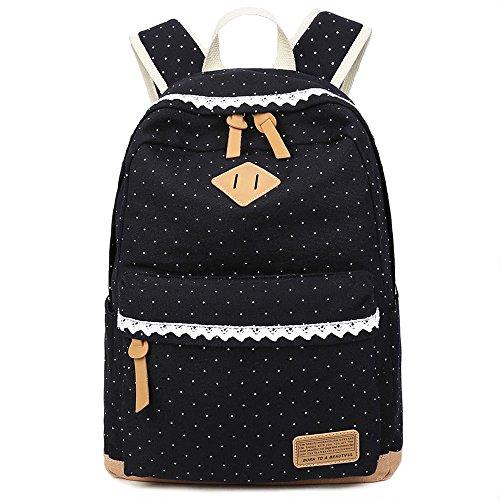 Donykarry Mädchen Schulrucksack Damen Canvas Rucksack Jugendliche Große Schultasche Outdoor Freizeit Daypack mit Moderne Spitzen (Schwarz)
