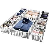 Puricon (8Stück)Aufbewahrungsbox Stoffbox Stoff Set Faltbox für Schubladen Schrank Tische Ordnungssystem, Faltbar Unterwäsche Socken Schals Krawatten Organizer Drawer Divider Cubes Container -Streifen