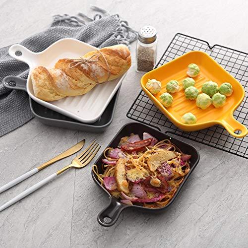 Yardwe Parrilla Antiadherente Bandeja de Porcelana Bandeja Cuadrada para Parrilla de Verduras con Mango Corto Parrilla Wok Grill Accesorios de Cocina para Carne Vegetal Pescado Camarón