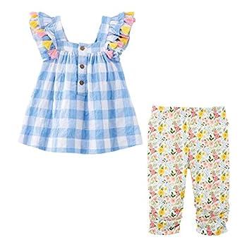 Mud Pie Baby Girls  Farmhouse Tunic and Capri Blue 2T